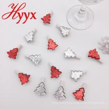 Los regalos promocionales de HYYX muchos clips de madera de la foto de los clips de la Navidad de la forma del árbol del estilo