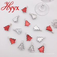 HYYX promotional gifts many style tree shape christmas wooden clips photo clips
