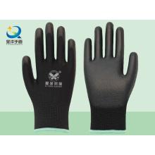 Schwarzer Polyester-Liner mit schwarzen PU-beschichteten Sicherheitshandschuhen