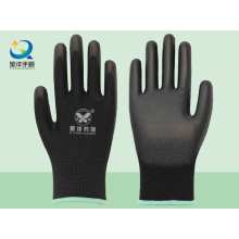 Black Polyester Liner with Black PU Coated Safety Gloves