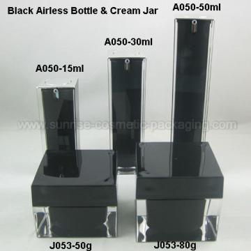 Pot de crème cosmétique cuboïdes flacon Airless cosmétique noir