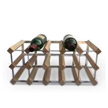 15 Bottle Natural Wood and Steel Wine Bottle Holders