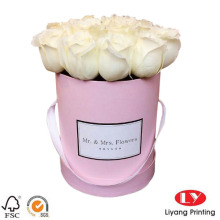Pink luxury flower gift box round with handle