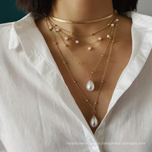 fashion charm chain pearl multi-layer necklaces women gold plated pendant necklace jewelry