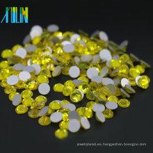 Diamante plano no caliente de la parte posterior del tamaño plano entero para el vestido y el diseño del clavo, color citrino MS110