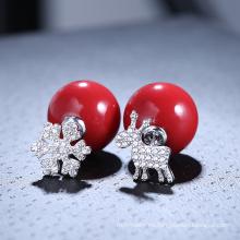 Nuevo copo de nieve rojo de la bola de la joyería de la Navidad de la venta al por mayor de la llegada y pendiente de la perla de los alces
