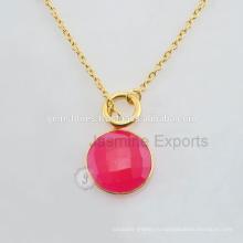 Натуральный Позолоченная Золото Безель Ожерелье Ручной Работы Серебро Установка Шатона Ожерелье