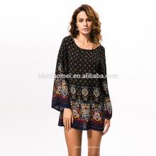 Мода Национальный Стиль платье высокое качество женщины печать платья Ретро