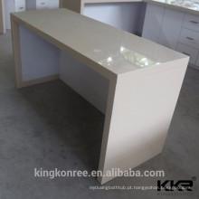 balcões de recepção de superfície sólida curvada, balcão de recepção de cor bege