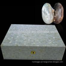 CCFW-CH Natural branco chinês água doce Shell Cigar Box