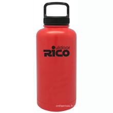 En acier inoxydable durable Sports vide bouteille rouge 64oz