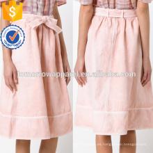 Bonito Bow-Embellished Pink Cotton y lino Midi Summer Falda Falda Fabricación Al Por Mayor Moda Mujeres Ropa (TA0034S)