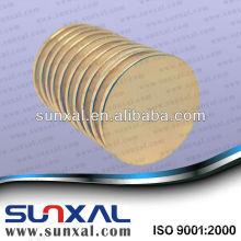 Aimant en néodyme cylindre plaqué or