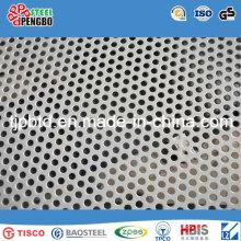 Chapa de aço inoxidável perfurada da placa de metal 316L / 304 furo redondo