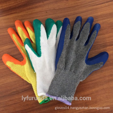 10 gauge 2 threads polycotton gloves coated with latex palm,wrinkle finish