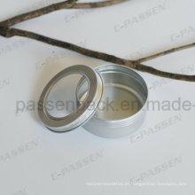 Lata de lata de alumínio do chá 5oz com tampa da janela