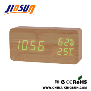 New Led Temperature Humidity Display Clock Wood