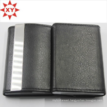 Fashion Black Leather Wrap Metal Card Holder