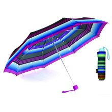 Paraguas ligero de aluminio compacto Strip 3 Fold (YS-3FM21083938R)