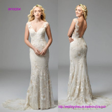 Fit-and-Flare V-Neckline Wedding Dress with Plays Backdrop to Dramatic Wildfell Floral Motifs