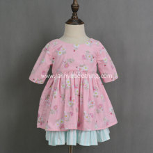 Girls reversible pink and green cotton floral dress