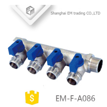 EM-F-A086 Chromed Floor water heating brass 3-way manifold with valve for Russia