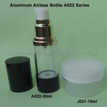Airless botella de aluminio de 30ml con Base negra