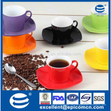 Heißer Verkauf keramische Farbe glasierte Kaffeetee-Satz keramische quadratische Kaffeetassen und Untertassen