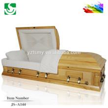 Fotos de madeira sólida por atacado alto brilho de caixão