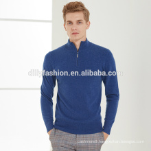 Half zipper slim cashmere long sleeve knitted sweater for mens