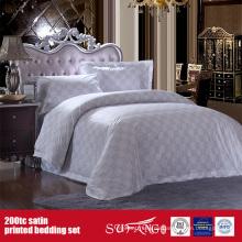 100% Baumwolle 200TC Satin Druck Bettwäsche Set Hotel Logo Print