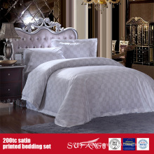 100%Cotton 200TC Satin Printing Bedding Set Hotel Logo Print