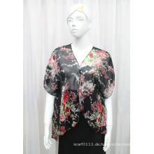 Lady Fashion Blume gedruckt Polyester Chiffon Seide T-Shirt (YKY2212)