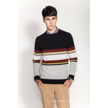 100% Cashmere Invierno Stiped Knitting Hombre Jumper Suéter