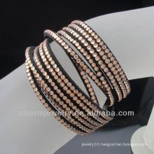 2014 Rhinestone wrap leather bracelet Fashion bracelet