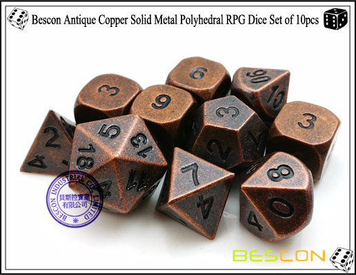 Bescon Antique Copper Solid Metal Polyhedral RPG Dice Set of 10pcs-3