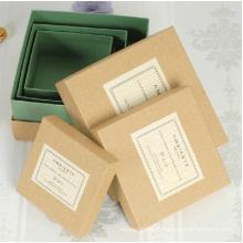 Boîte en papier Kraft naturel de qualité avec couvercle Petites boîtes en papier Kraft carrées