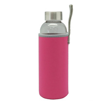 Botella de agua de vidrio pared simple portátil con bolsa protectora