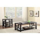 Set of 2 Grid Panel Wooden Contemporary Modern Coffee Table