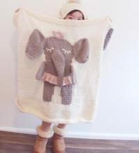 हाथी के साथ नवजात कंबल कपास crochet
