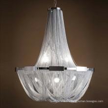 Modern creative aluminum hanging light luxury tassel chain chandelier