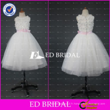 ED Bridal Real Sample Appliqued Robe de bal Longueur cheville Robe fille fleur fille rose rose 2017