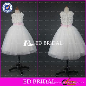 ED Braut echte Probe Appliqued Ballkleid Knöchel Länge weißes Blumenmädchen Kleid mit rosa Band 2017