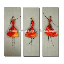 Pintura al óleo abstracta del grupo de la muchacha de la danza