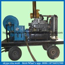 Machine de nettoyage de tuyau d'égout de laveuse de tuyau de vidange diesel à haute pression