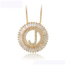 34444 mais recente projeto xuping moda colar 18 K carta cor de ouro J colar de luxo para as mulheres