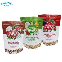 Kundenspezifische Kunststoff Stand Up Zip Lock Beutel Aluminiumfolie Taschen Kokosnuss Snack Verpackung Tasche mit Logo