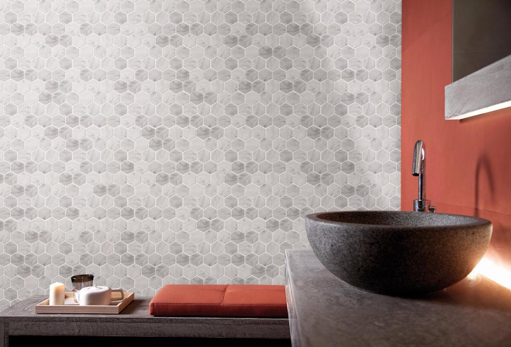 White Stone Alike Large Hexagonal Glass Mosaic Tile