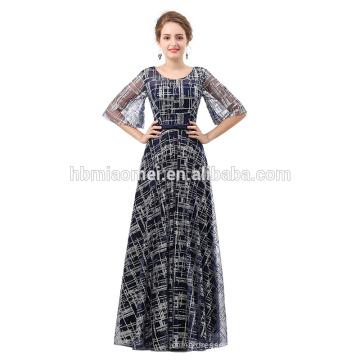 Langer Abendkleid des spätesten Entwurfs des Abschlussballkleides 2018 Bronzing Spitze-Rundhalsausschnitt-formales Abendkleid
