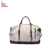 Bolso del duffle del viaje del cuero de la bolsa del equipaje de la lona de los hombres durables